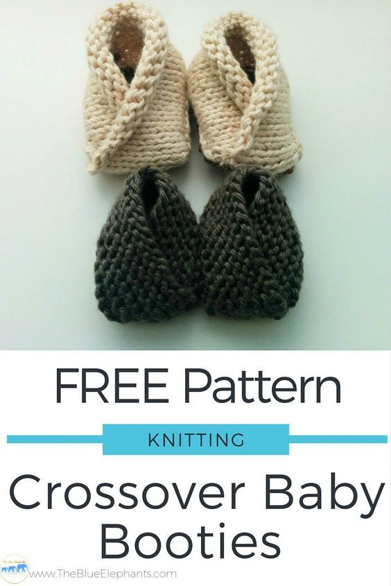 Free Knitting Pattern Crossover Baby Booties Babies Pinterest
