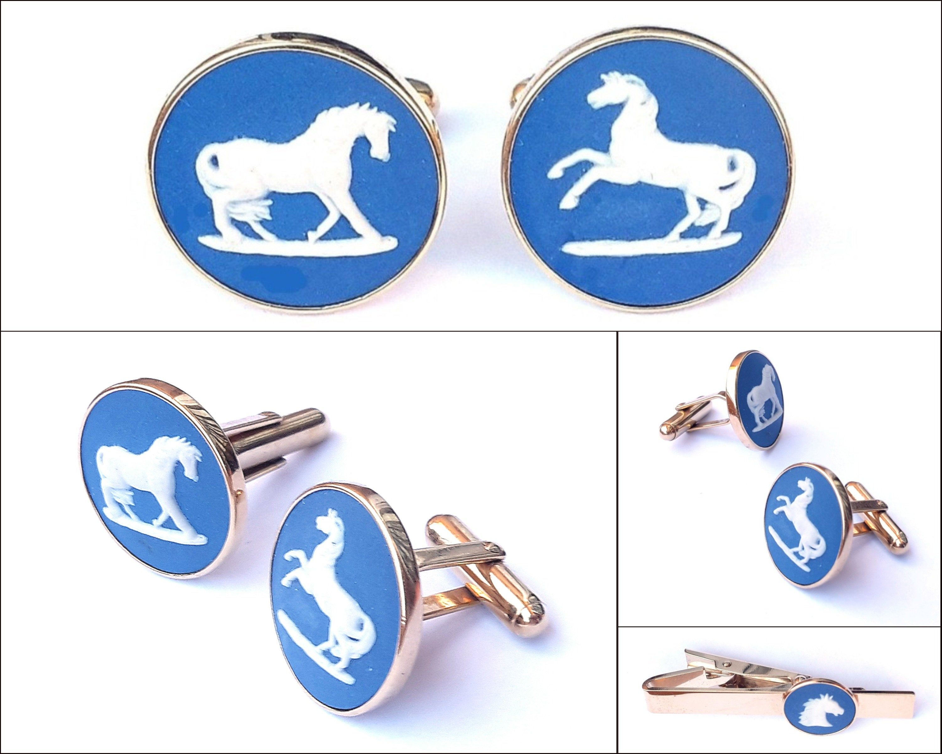 0f10af08d0fd Wedgwood Cameo Cufflinks And Tie Clip - 80s Vintage - Equstrian Horse -  Engraved/Hallmarked