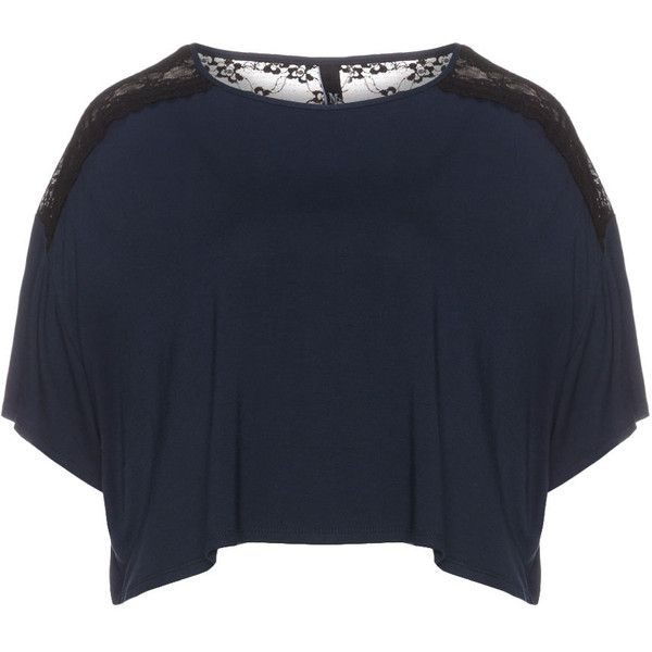 Manon Baptiste Dark-Blue / Black Plus Size Cropped lace t-shirt ($34) ❤ liked on Polyvore featuring tops, t-shirts, plus size, lace trim top, lace tee, lace top, plus size crop tops and lace crop top