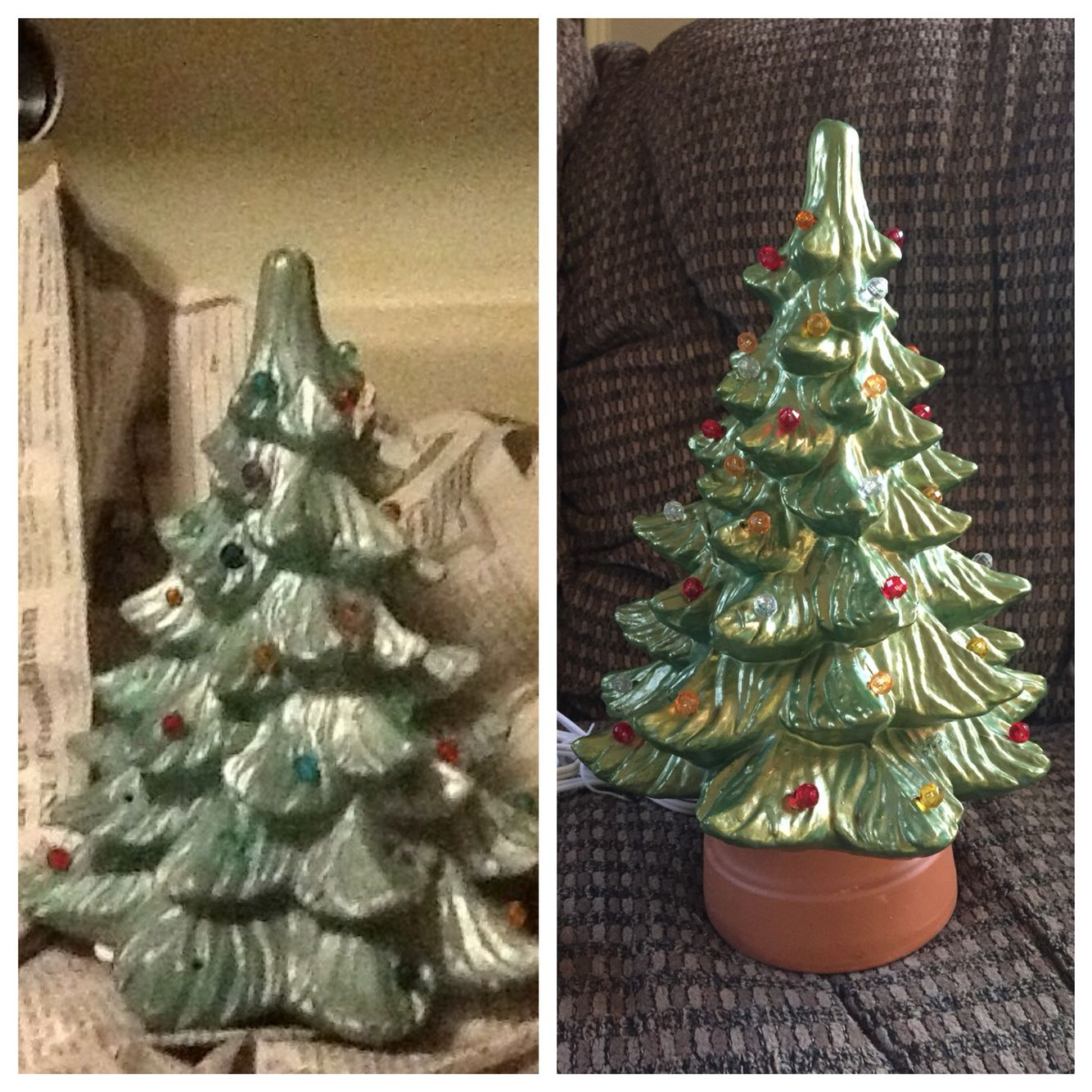 Goodwill makeover! Ceramic Christmas tree missing lights ... on