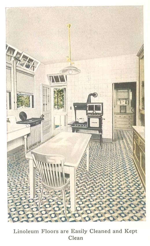 Kitchen From A 1921 Linoleum Catalog Early 1900s