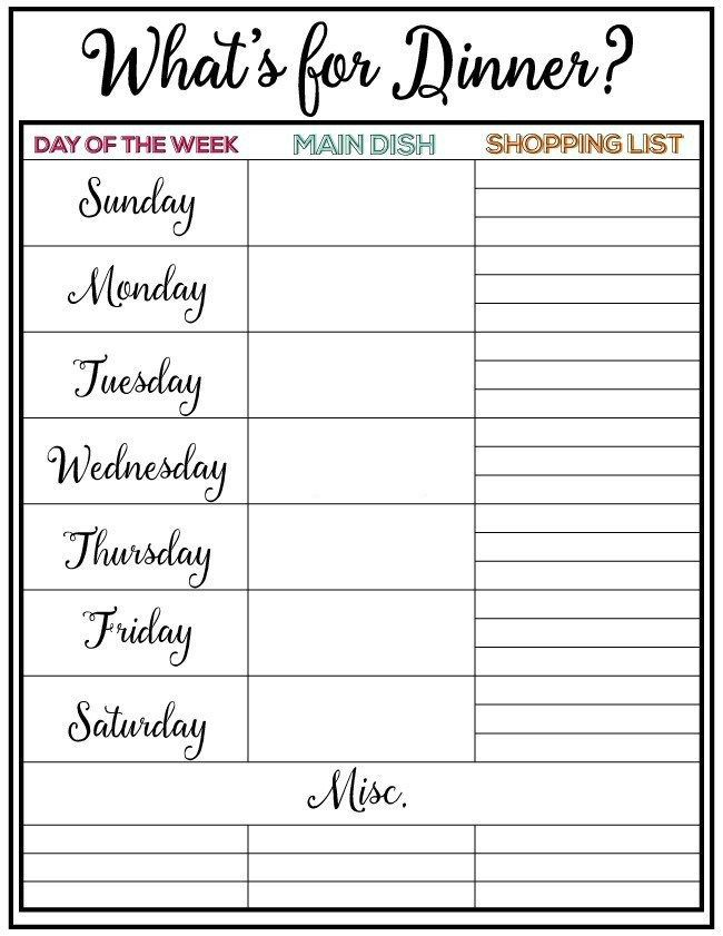 weekly menu plan Organization Ideas and Printables Pinterest - Printable Weekly Menu Planner With Grocery List