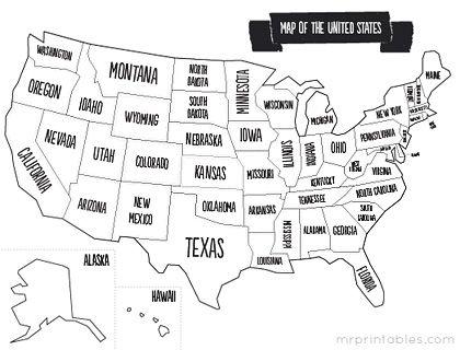 Mr Printables Great Free Printables Including Usa Map Printable Maps United States Map Homeschool Social Studies