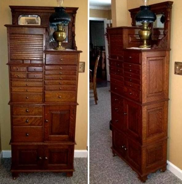 This is an antique oak, Dental Cabinet by American Cabinet Co ...