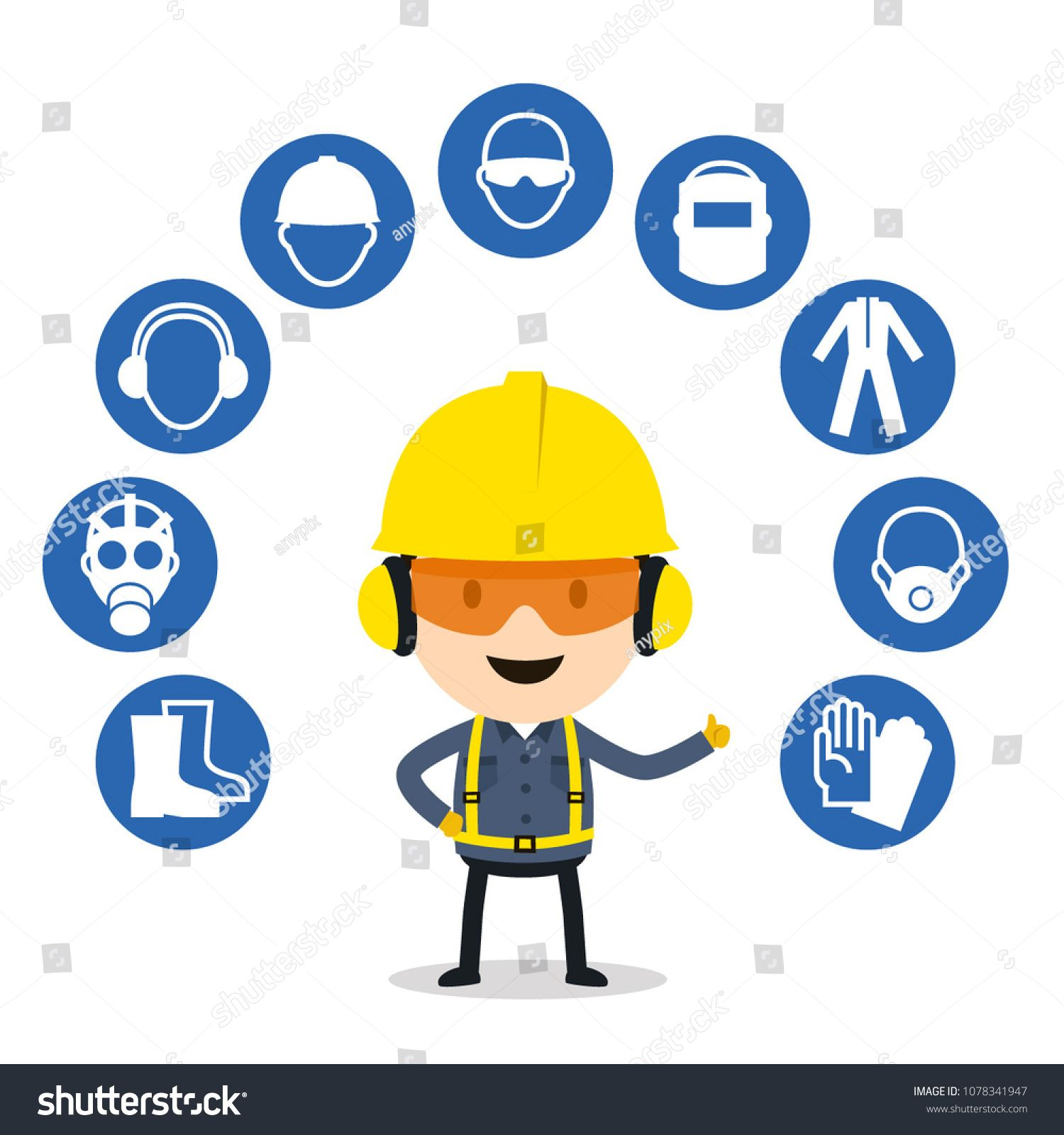Personal protective equipment and safety icons, Vector