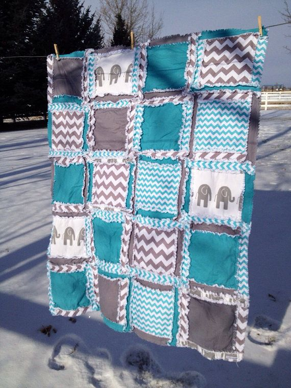 Toddler Bed Size RAG QUILT, Elephant, Chevron, Made to