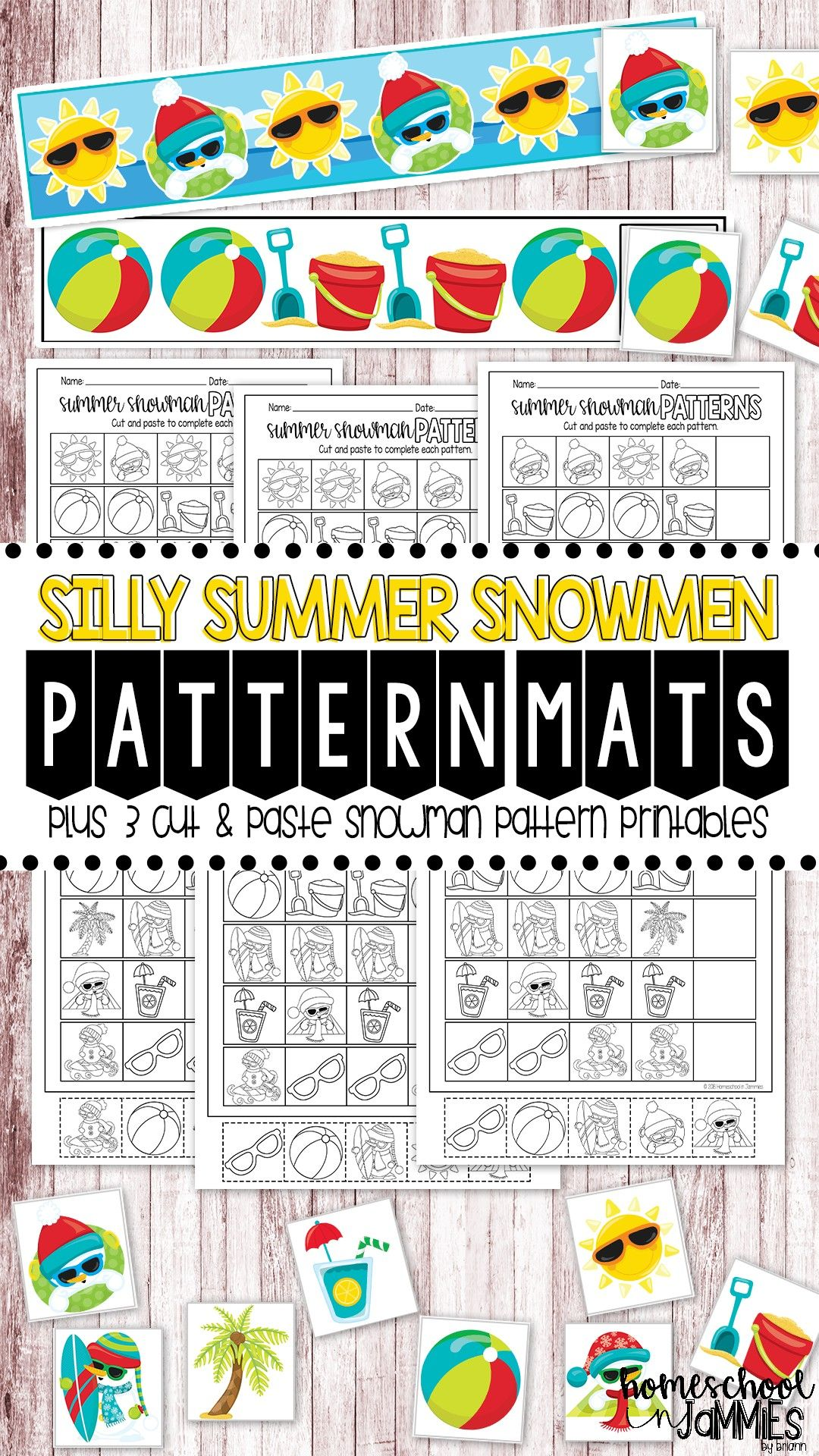 Silly Summer Snowmen Pattern Mats Amp Printables