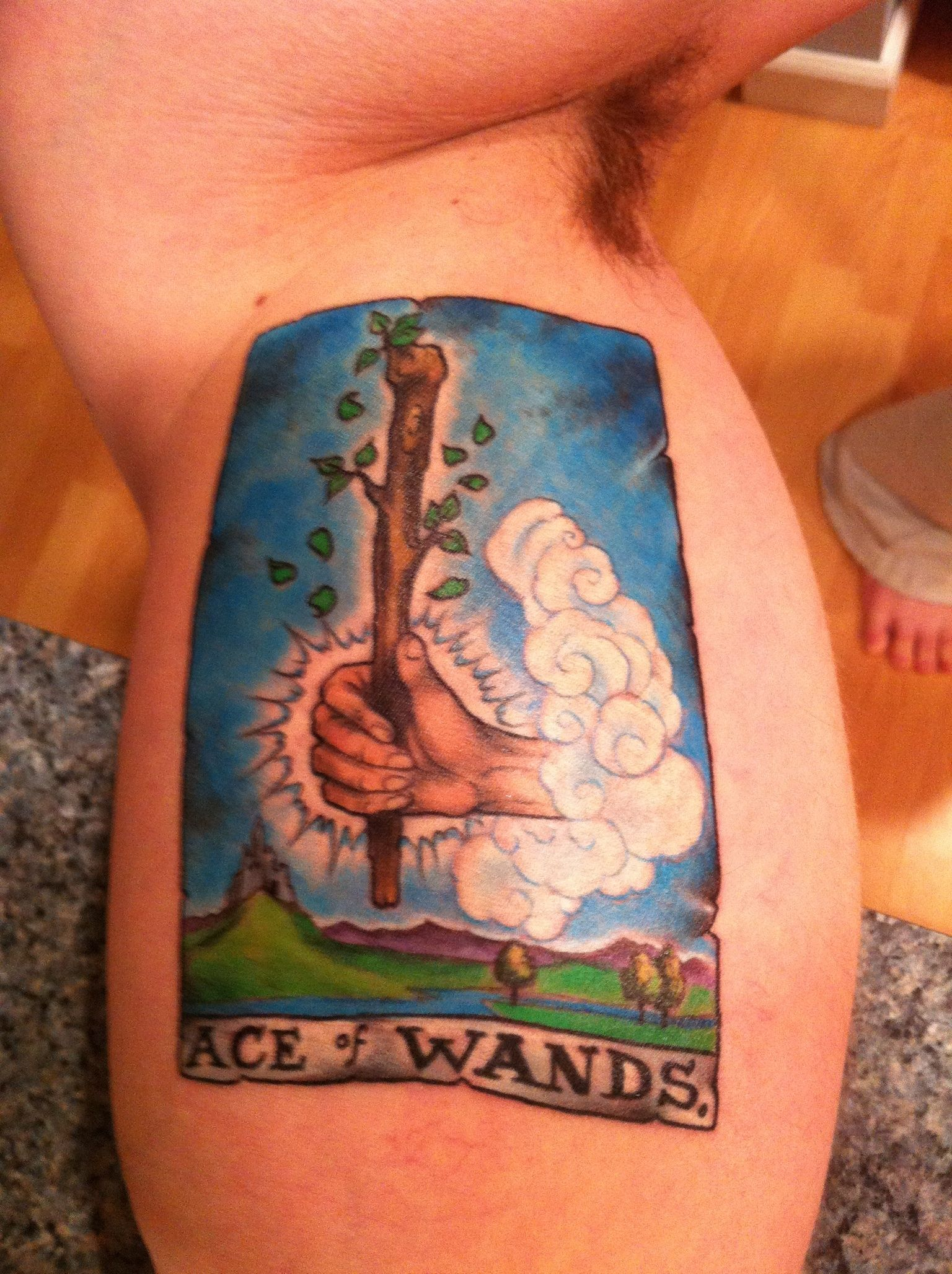 Ace of Wands tarot tattoo  (by Matt Lukesh)