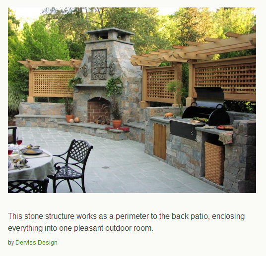 Outdoor Kitchens Perfect For Summer Entertaining: Patio With Fireplace And Built In BBQ For Outdoor Dining