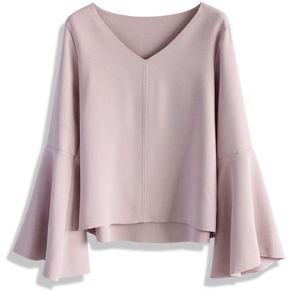 Chicwish Swingy Pastel Pink Top with Flare Sleeves (£26) ❤ liked on Polyvore featuring tops, pink, bell sleeve tops, pastel tops, flared sleeve top and pink top