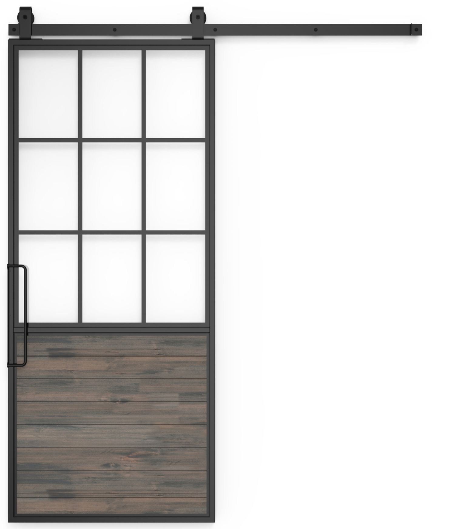 Mountain French Barn Door Half Glass Rustica Hardware Interior Barn Doors Sliding Doors Interior Interior Sliding Barn Doors