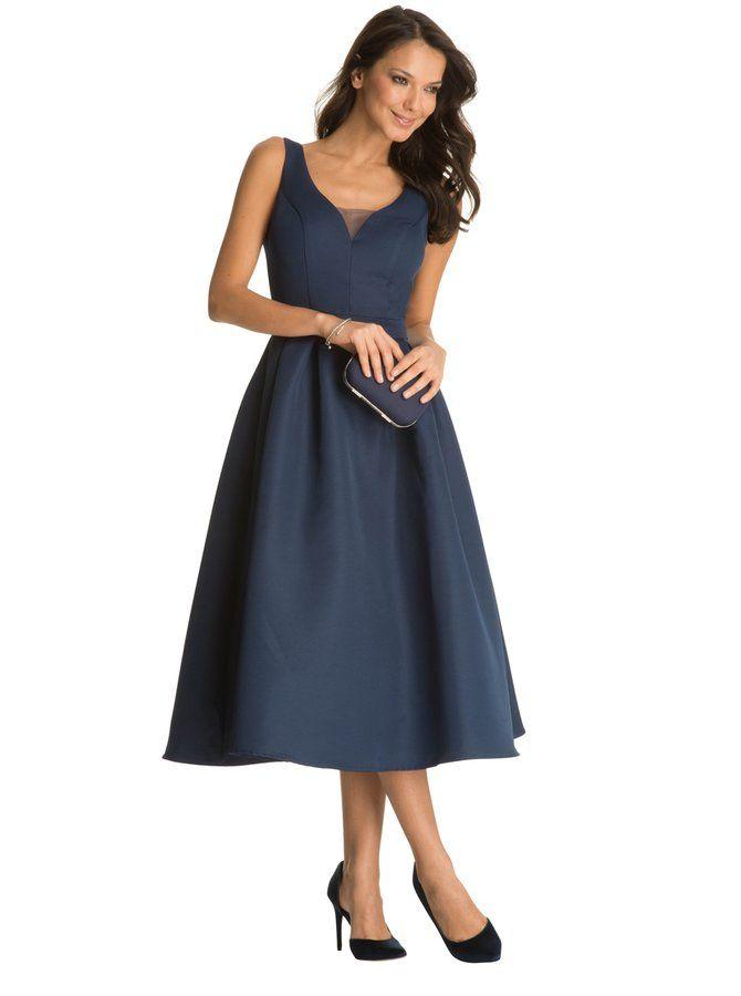 dfbc77147d88 Tmavomodré šaty s tylovou sukňou Chi Chi London