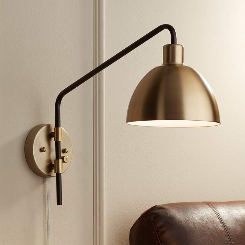 Colwood Antique Brass And Bronze Plug In Swing Arm Wall Lamp