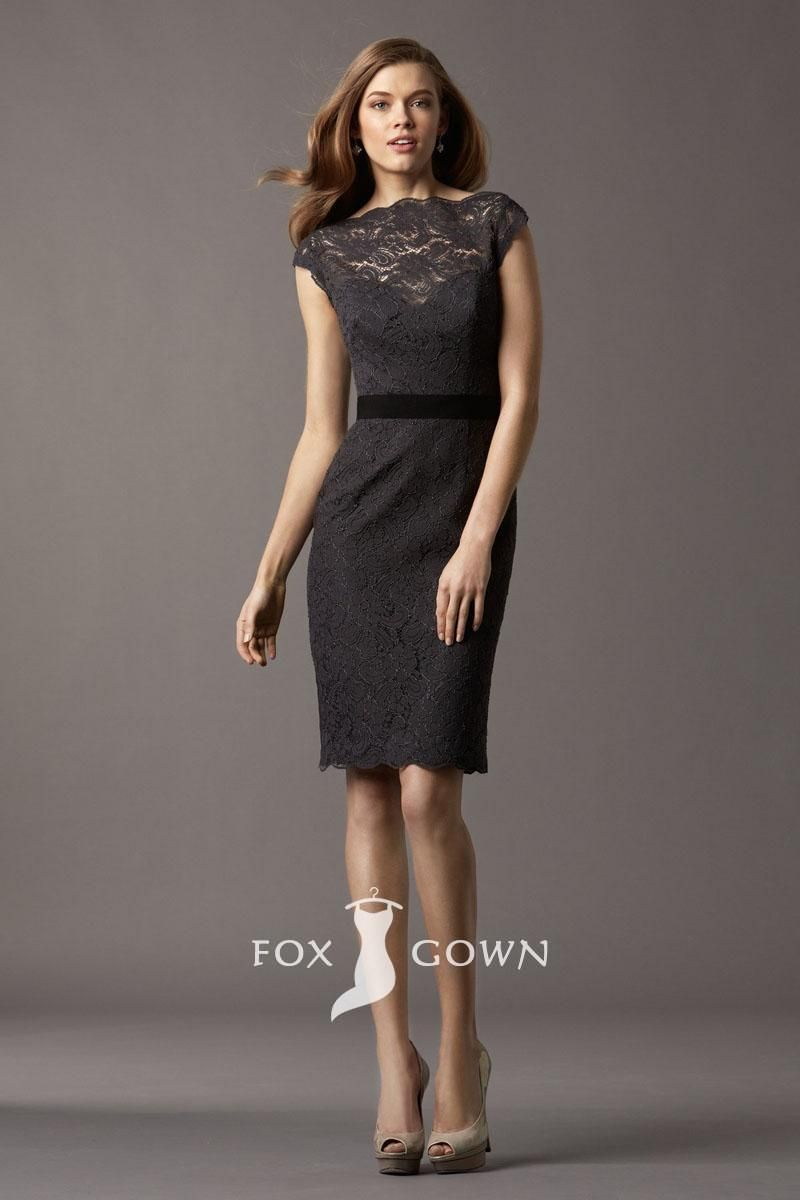 timeless charcoal lace cap sleeve boat neck knee length short sheath ...