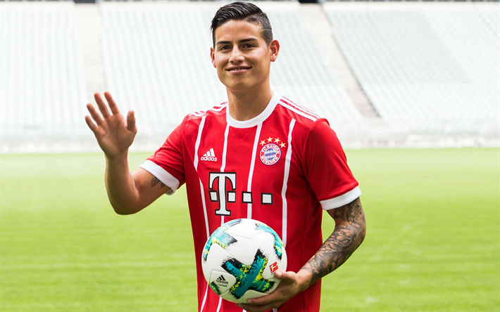 f15f8317429 Download wallpapers James Rodriguez, 4k, football, Bayern Munich, Germany,  Bundesliga, Colombian football player