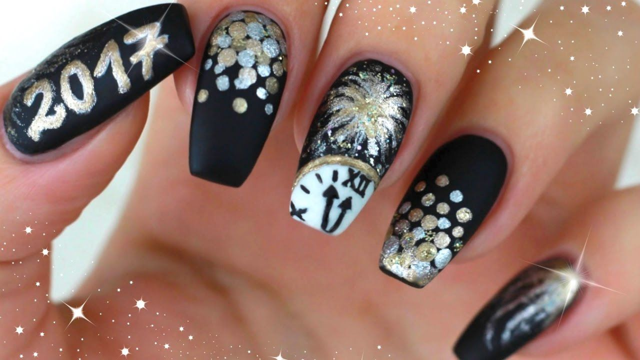 SILVESTER NÄGEL MATT GOLD/SILBER ✨ NEW YEARS EVE NAILS 2017 ✨ UHR ...