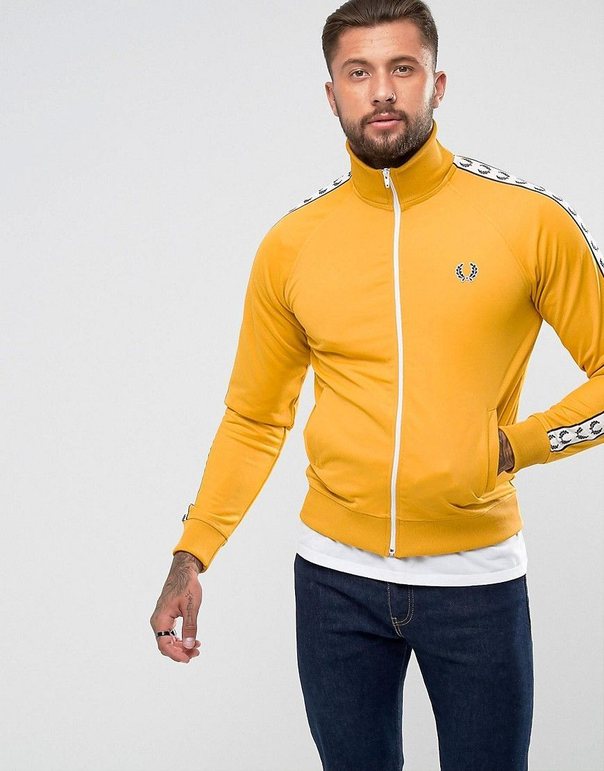 Fred Perry Laurel Wreath Tape Track Jacket In Yellow - Yellow