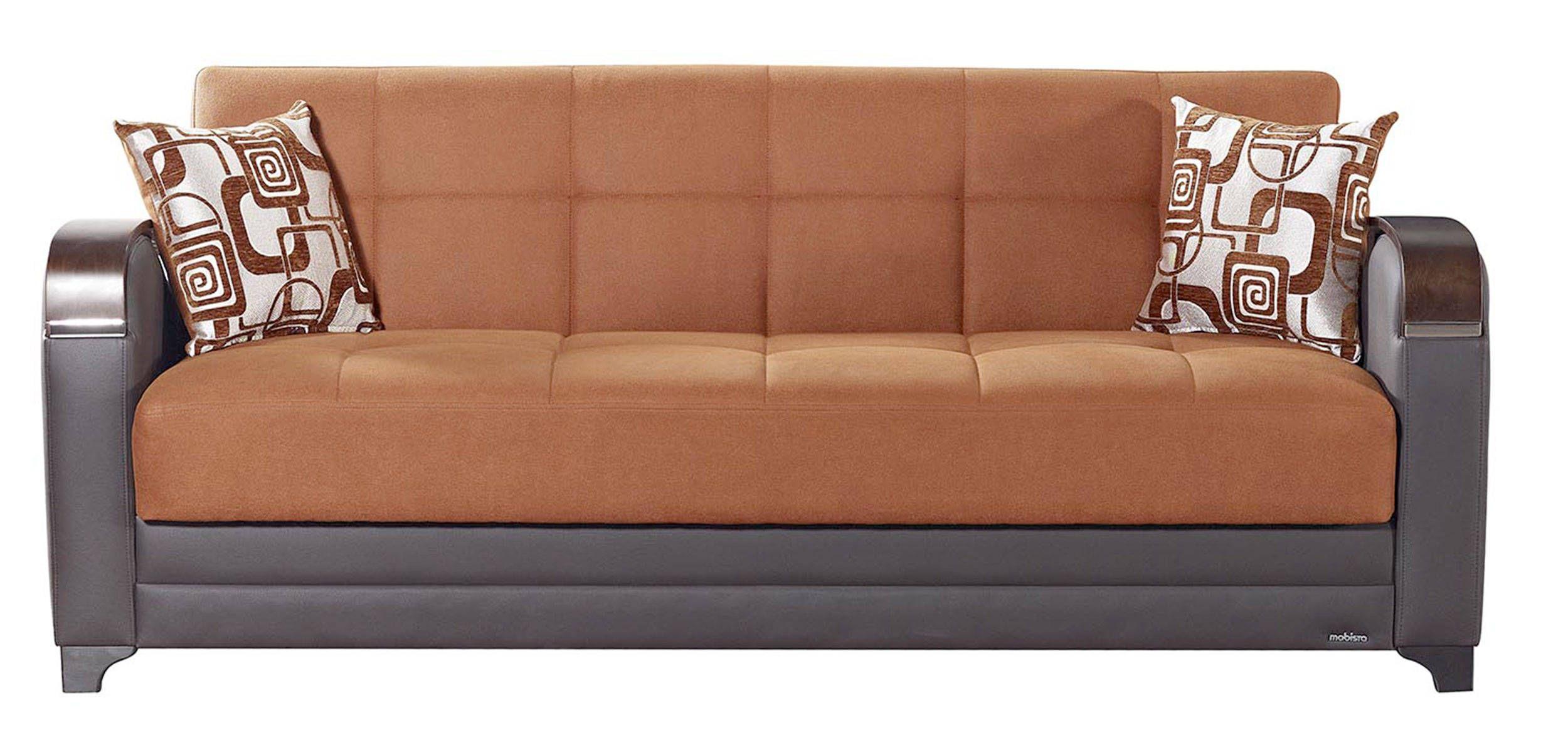 Etro Vintage Terra Cotta Fabric PU MDF Plywood Storage Sofa Bed