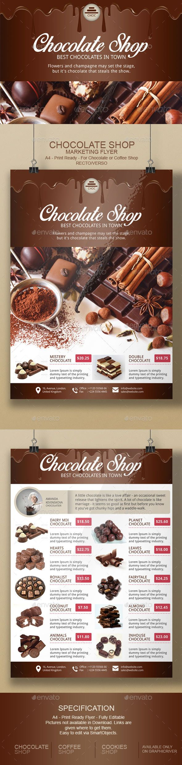 Chocolate Flyer Template | Flyer template, Chocolate and Brochures