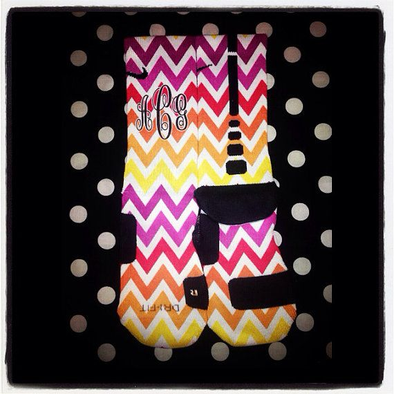 Rainbow Chevron Nike Elites on Etsy, $35.00