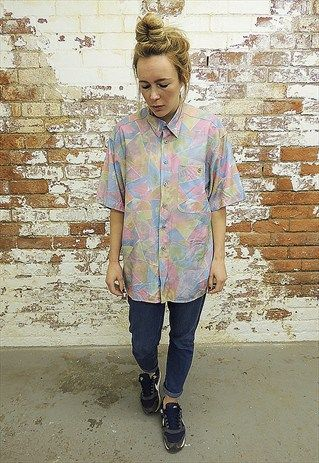 Vintage+80's+Abstract+shape+Pastel+print+Shirt.