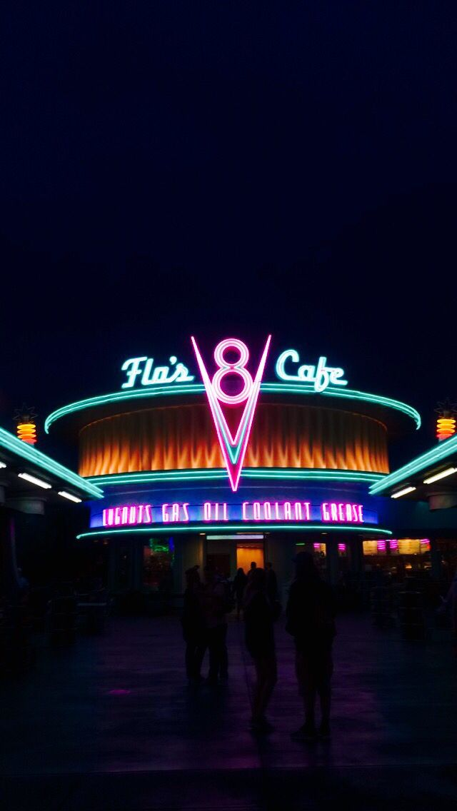 Cars Land With Images Disney Wallpaper Neon Wallpaper