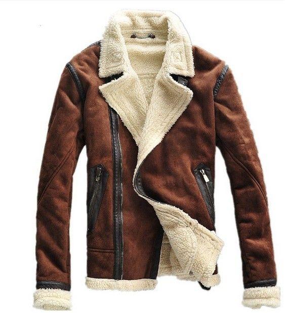 8cf3b97d17663 kahverengi kış deri ceket erkek havacı sıcak giyim motosiklet kaliteli mens  faux kürk kat giyim M L XL 2xl(China (Mainland))