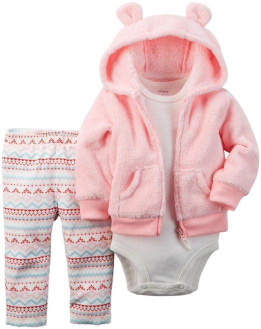 6aa25bb9f Carter's Baby Girls' 3 Piece Cardigan Set - Pink Fairisle - 6 Months ...