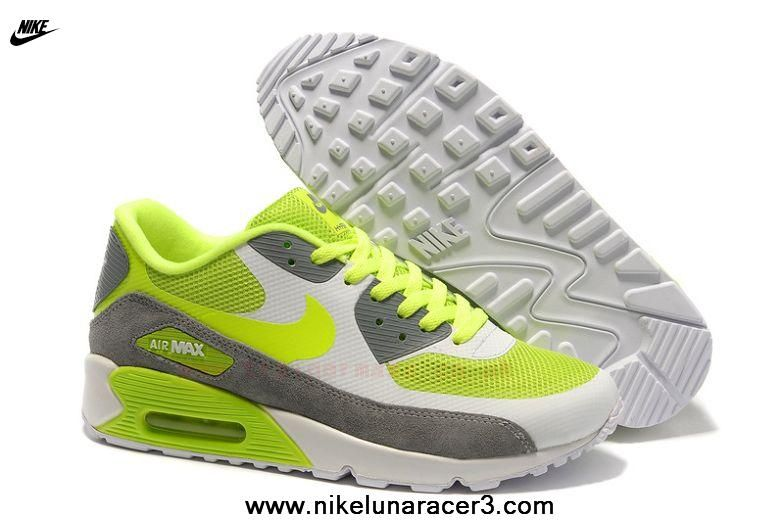 45031ad1eb0 Nike Air Max 90 Hyperfuse Womens Trainers Fluorescent-Green Gray Free  Running Shoes