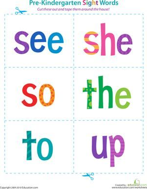 Pre-Kindergarten Sight Words: See to Up | Preschool sight words ...