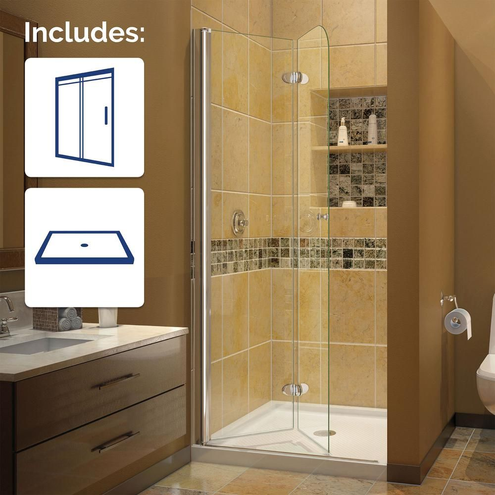 DreamLine Aqua Fold 36 in. x 36 in. x 74.75 in. Frameless Shower ...