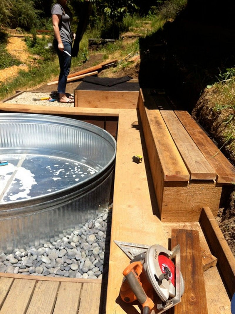 Galvanized stock tank turned diy pool stock tank pool