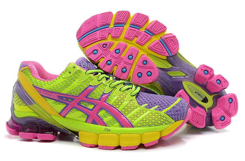 pink and green asics trainers