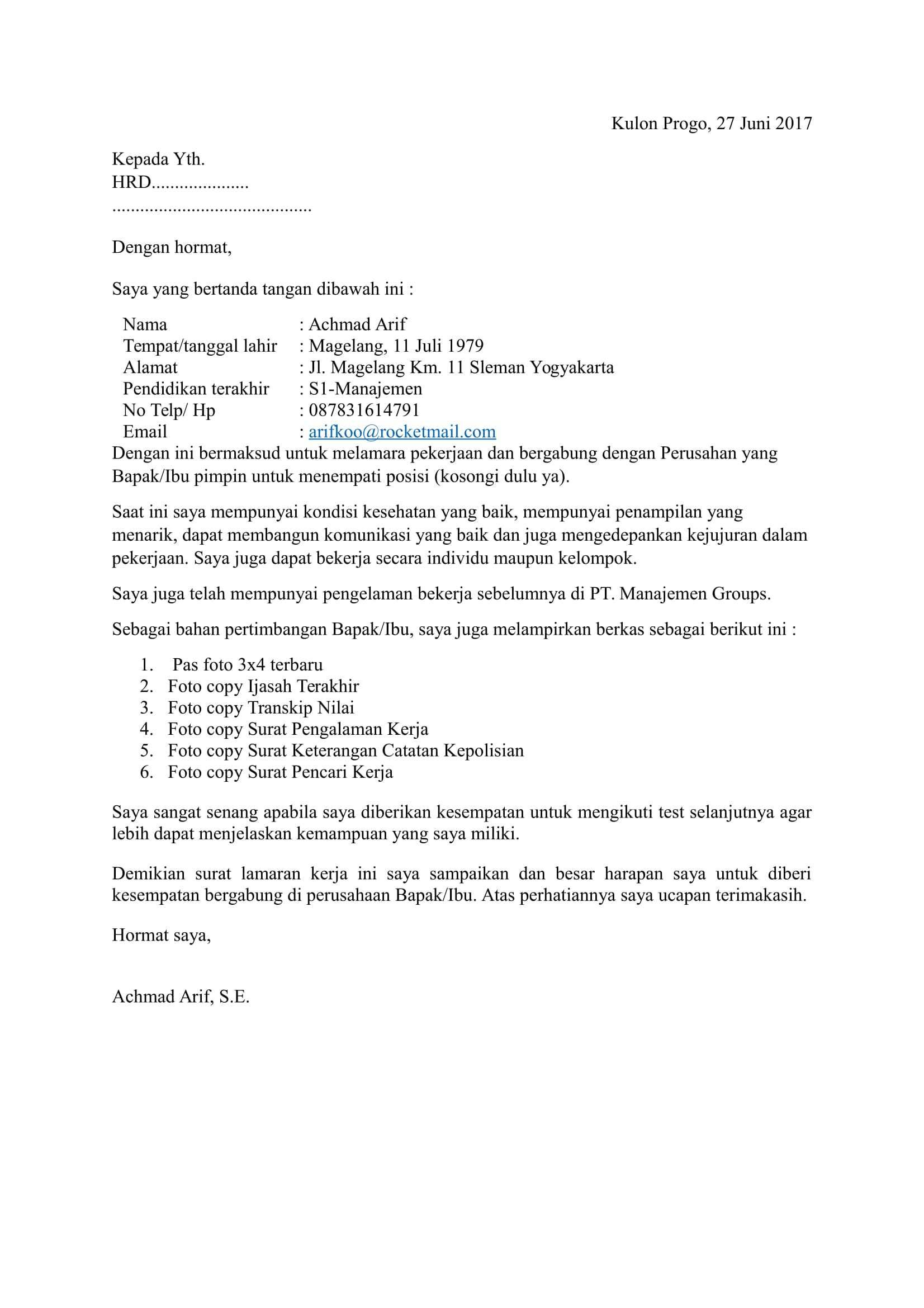 Contoh Surat Lamaran Kerja Job Fair Cv Kreatif Pendidikan Surat