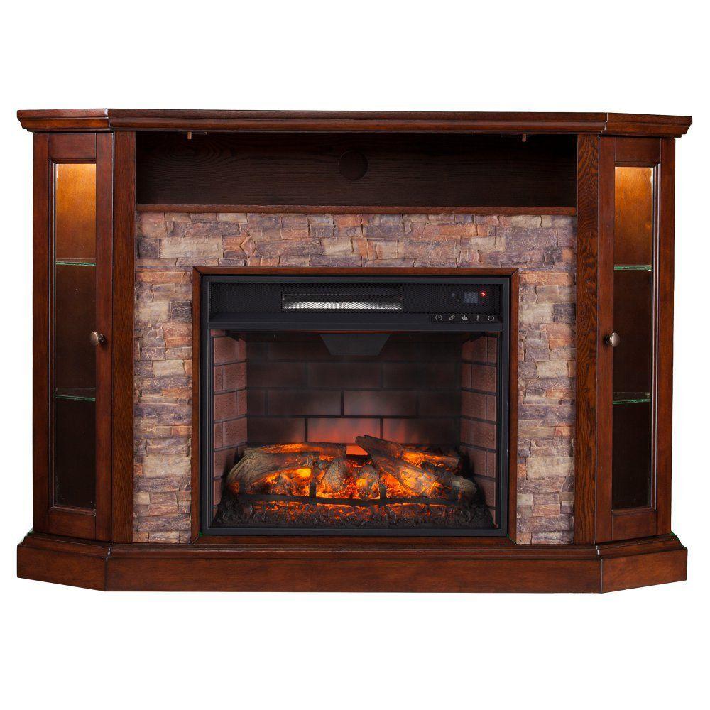 Southern Enterprises Redden Corner Electric Fireplace Tv Stand  # Foyer Electrique Meuble Tele