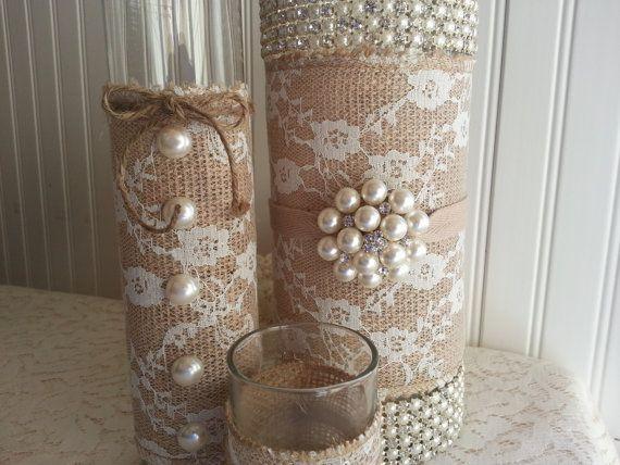 Large Vase Decoration Ideas: LARGE BURLAP And Lace Vase Victorian Rustic Chic Barn