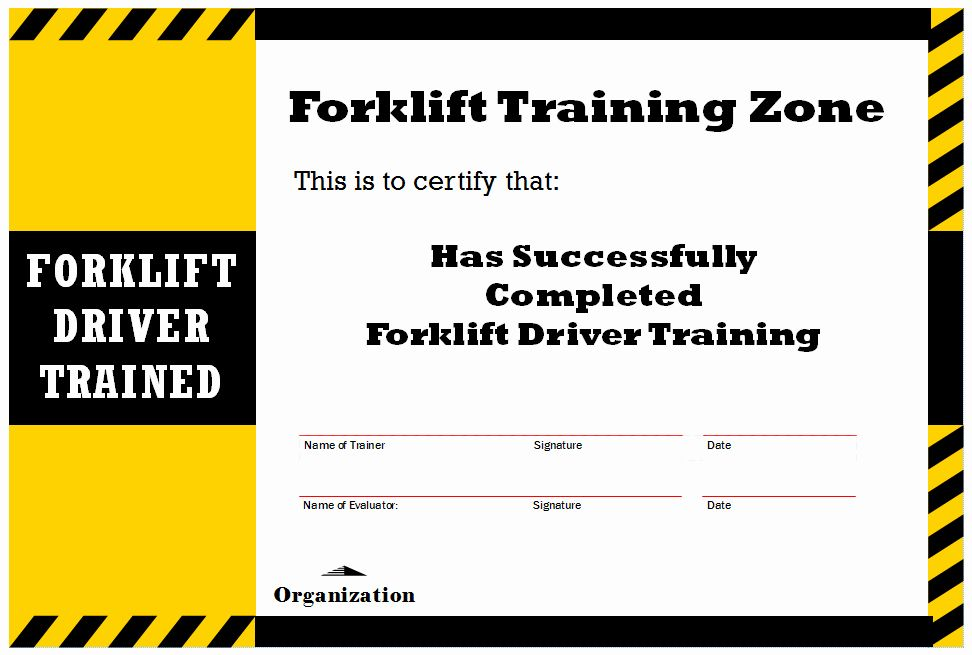 Forklift training certificate template inspirational new