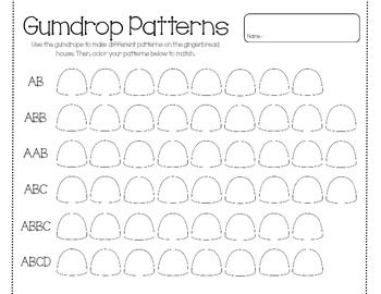 gumdrop patterns ab abb aab abc abbc abcd teacher portfolio kindergarten and math. Black Bedroom Furniture Sets. Home Design Ideas