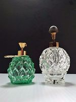 Vintage Mist 2 Glass Japan IRICE Atomizer Perfume Bottle w Jewel Top Clear Green