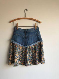 Vintage 90s Denim and Floral Rayon Bohemian Mini Skirt, Size 7