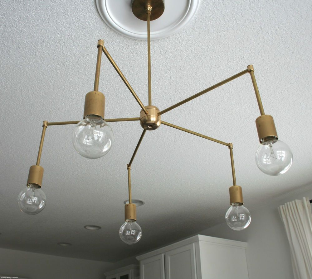 Modern Diy Brass Sputnik Chandelier Hanging Light Pendant Ceiling