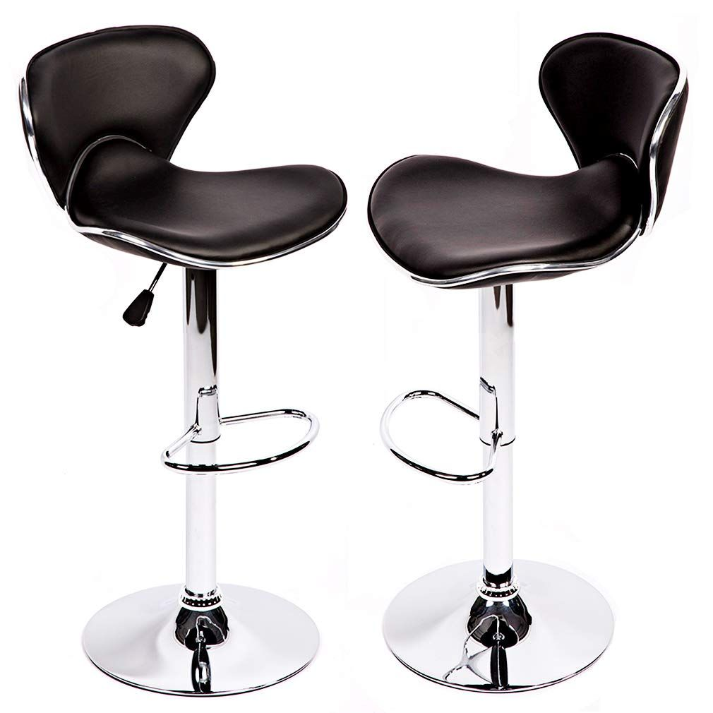 Apontus Pu Leather Swivel Hydraulic Bar Stool With Back Cushion