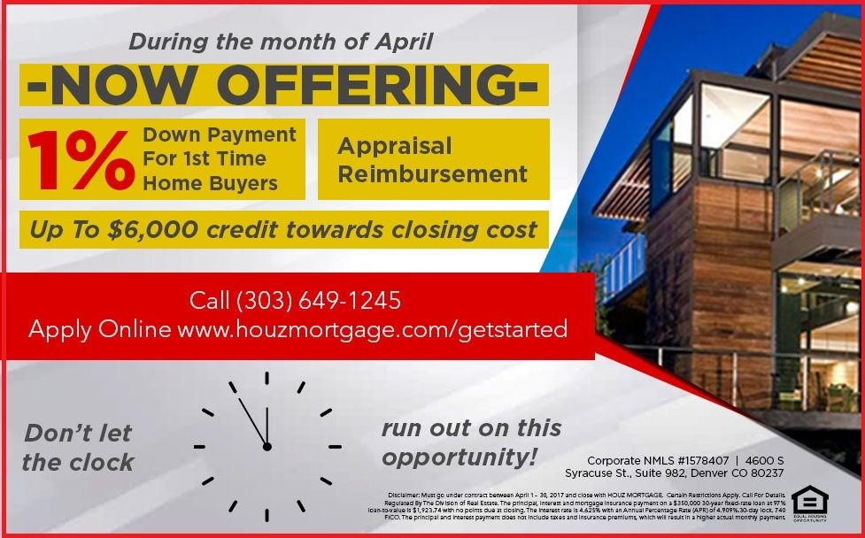 Get This Offer Now Offering 1 Down Payment For First Time Home Buyers Houzmortgage Mortgage Promo Real How To Apply Top Mortgage Lenders Death Insurance