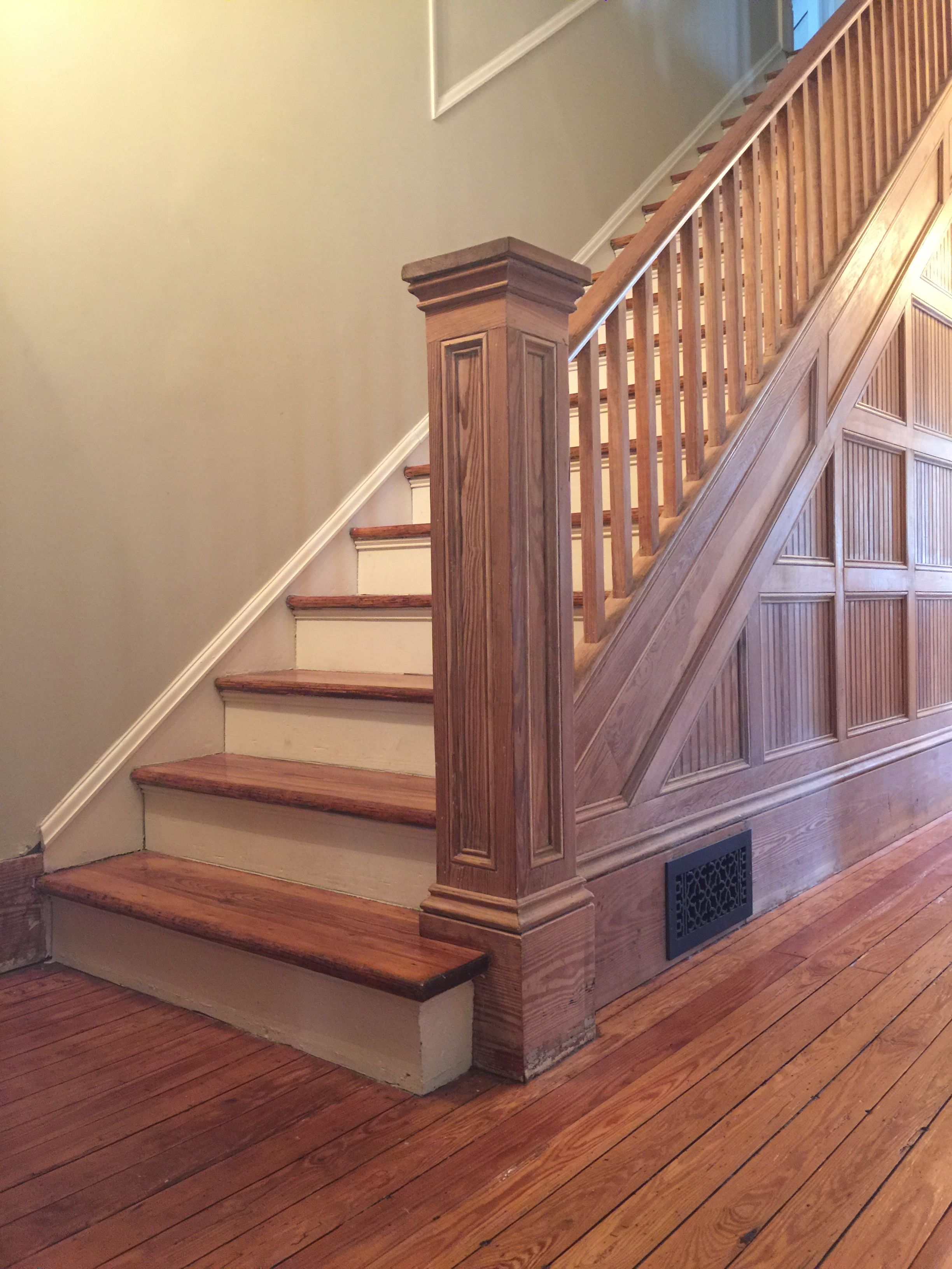 Victorian Farmhouse Stairwell With Lights On