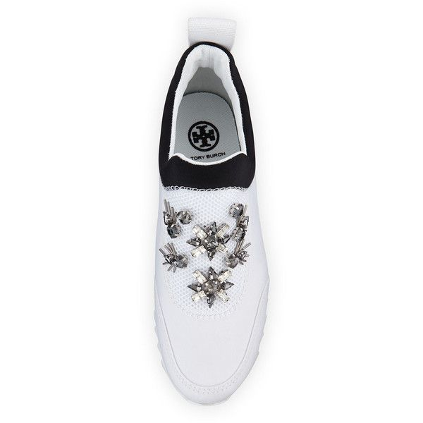 865614343 Tory Burch Rosas Embellished Runner Sneaker ( 310) via Polyvore featuring  shoes