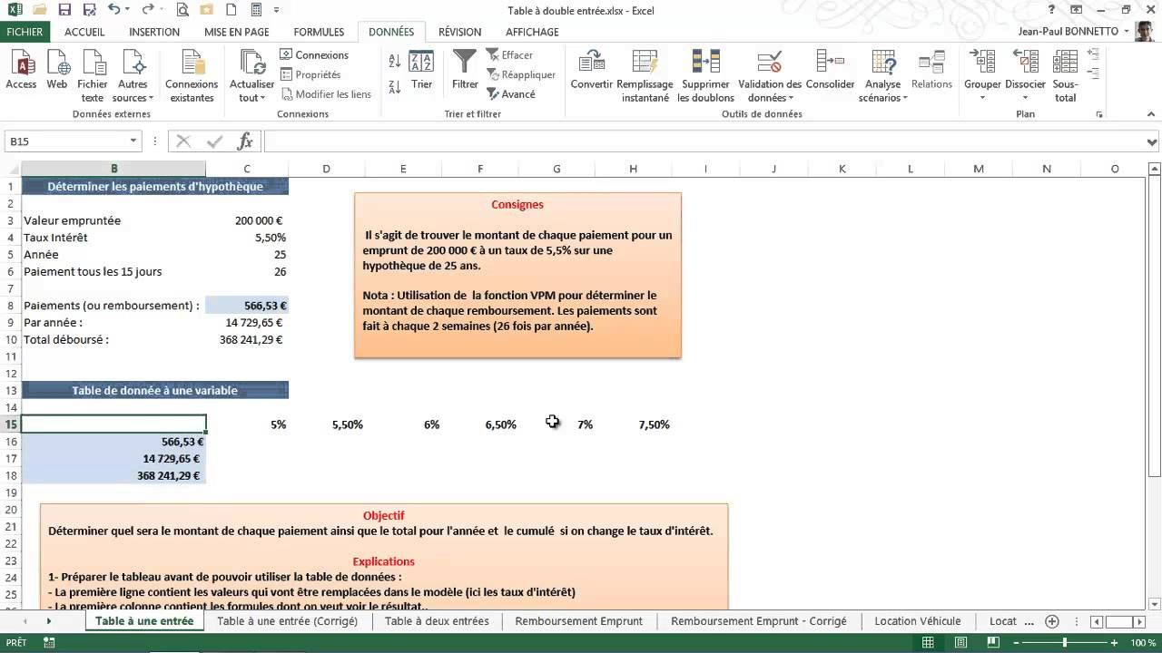 Excel : Réaliser des scénarios avec l'outil Table de données