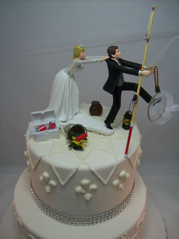 No FISHING Come Back Funny Wedding Cake Topper Bride And
