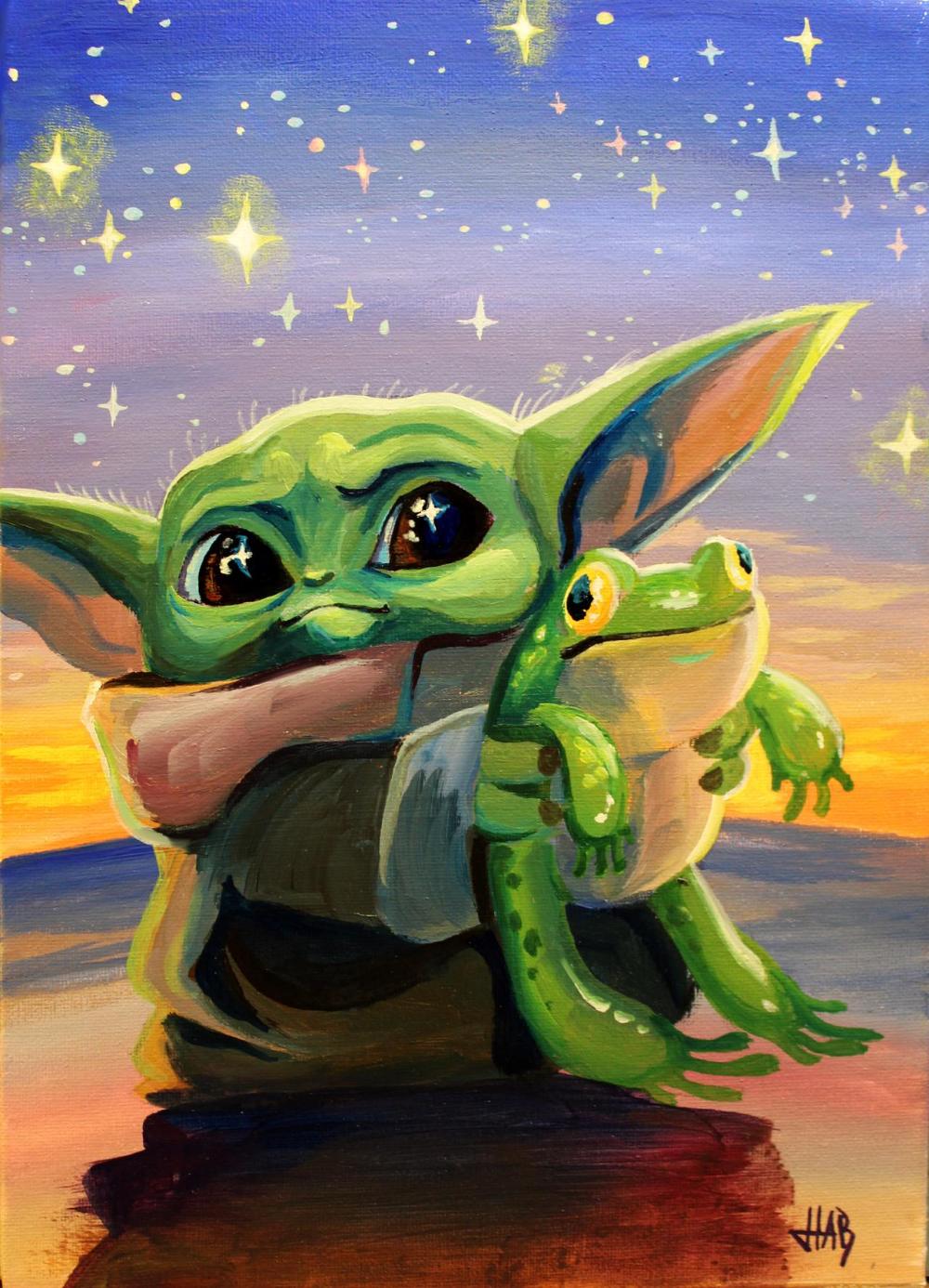 Baby Yoda Loves Frog By Snowboardleopard On Deviantart Yoda Art Star Wars Painting Yoda Artwork