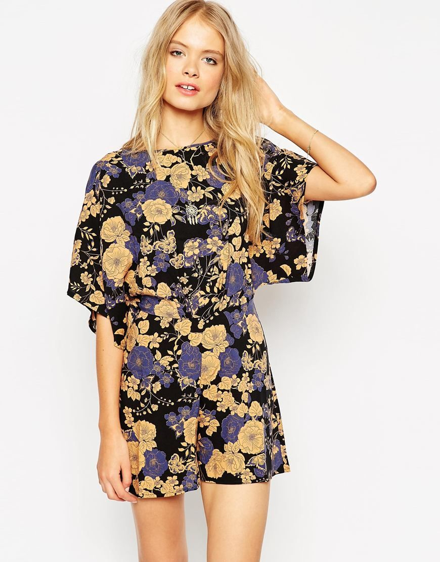 Image 1 of ASOS Romper with Kimono Sleeve in Floral Print ...