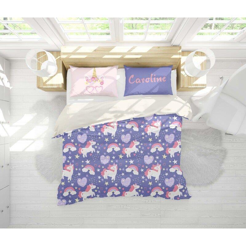 3D Purple Unicorn Quilt Cover Set Bedding Set Pillowcases 22